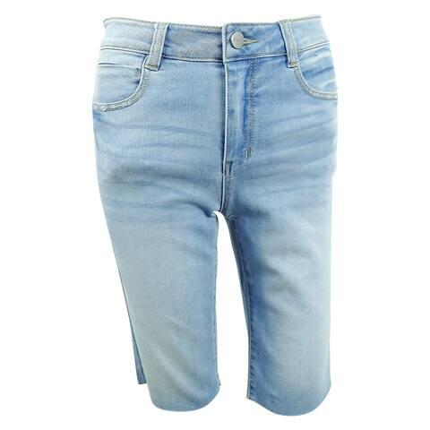 DKNY Women's Studded Denim Shorts (26, Medium Wash) - Medium Wash - 26