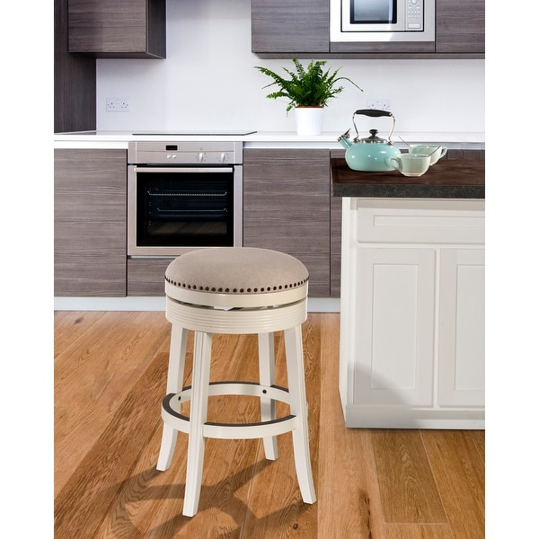 """Copper Grove Curlew White Wood Backless Swivel Counter Stool - 18""""W x 18""""L x 26""""H. Opens flyout."""