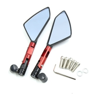Pair Red 8mm 10mm Adjustable Motorcycle Wide Angle Rearview Blue Mirror