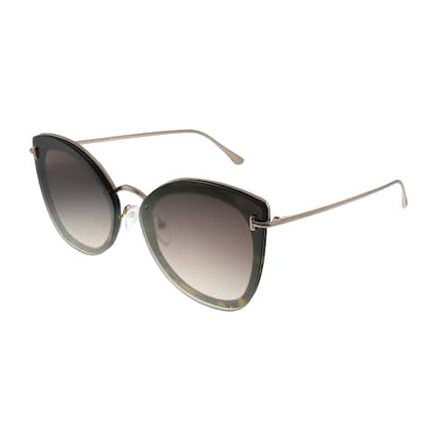 Tom Ford Charlotte TF 657 52G Womens Dark Havana Frame Brown Gradient Lens Sunglasses
