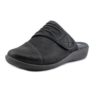 Clarks Narrative Sillian Rhodes Women N/S Round Toe Canvas Black Mules