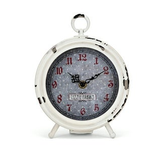"""7"""" White and Red Distressed Berry Patch Desk Clock with Subtle Polka Dot Pattern"""