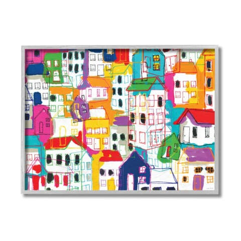 Stupell Industries Abstract Geometric Town Pattern Colorful Architecture Framed Wall Art