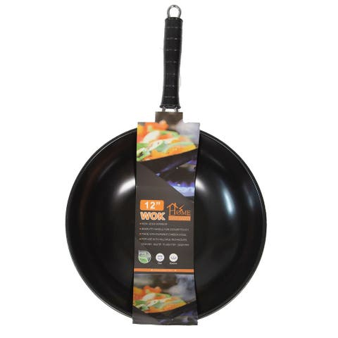 "Home Innovations 12"" Carbon Steel Wok - Black"