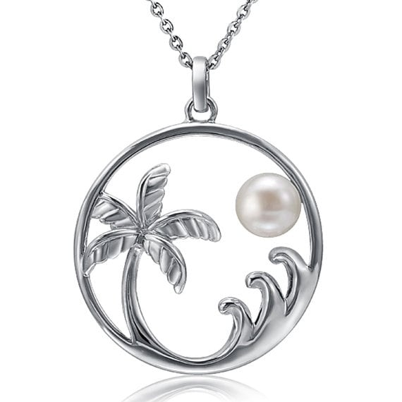 """Palm Tree Wave Pearl Necklace Sterling Silver Pendant 18"""" Chain"""
