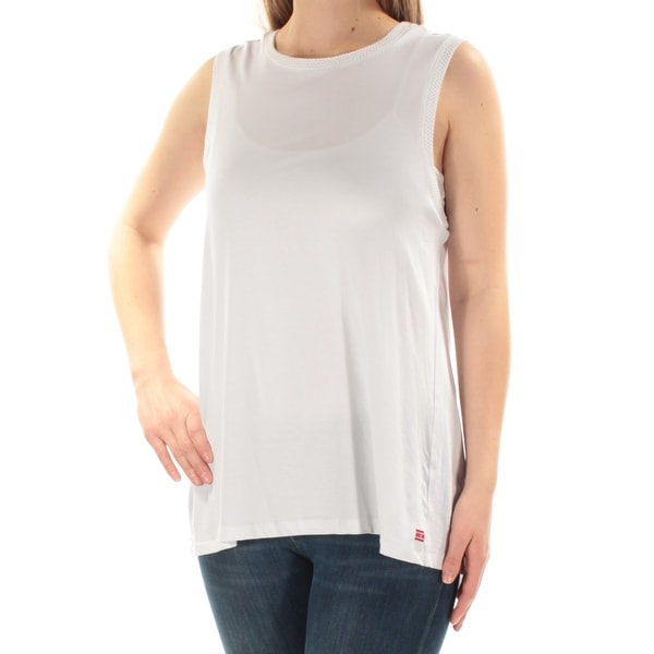 61891b44f4 Shop TOMMY HILFIGER Womens White Slitted Sleeveless Crew Neck Top Size: M -  On Sale - Free Shipping On Orders Over $45 - Overstock - 21239190