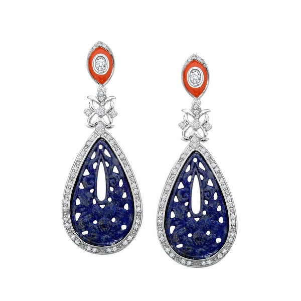 Cristina Sabatini Deluxe Lapis Earrings with Cubic Zirconia in Sterling Silver - Blue