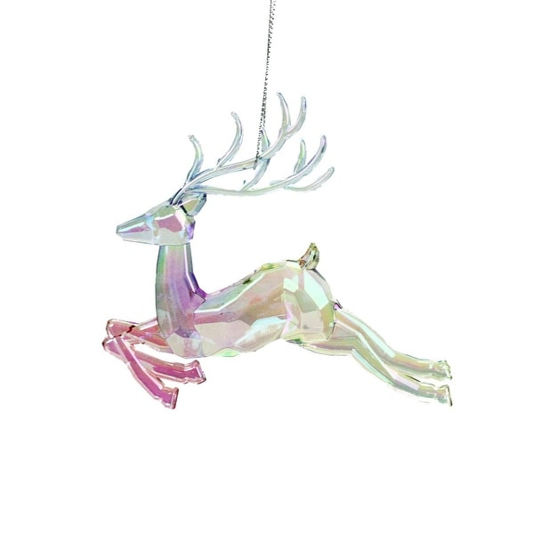 "4.5"" Clear Iridescent Rainbow Finish Leaping Reindeer Christmas Ornament"