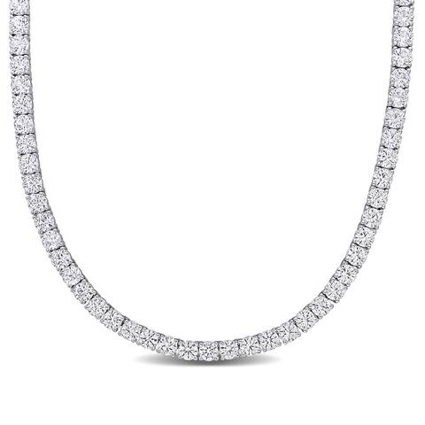 33ct TGW Created White Sapphire Classic Tennis Necklace in Sterling Silver by Miadora