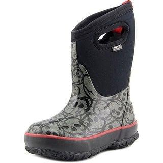 Bogs Clsc Hi Skulls Youth Round Toe Synthetic Black Rain Boot