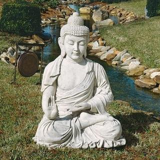 Design Toscano Noble Buddha of the Grande Temple: Sandstone, Giant - 35 x 32 x 47