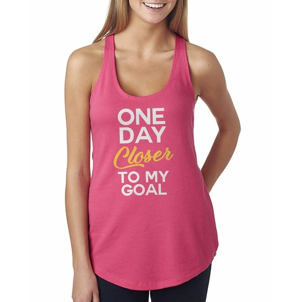 ba1592283 Shop One Day Closer To My Goal Cute Women's Hot Pink Racerback Tank - Free  Shipping On Orders Over $45 - Overstock - 19749936