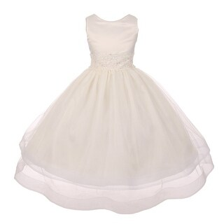 Chic Baby Girls Ivory Lace Waist Sleeveless Layered Flower Girl Dress (4 options available)