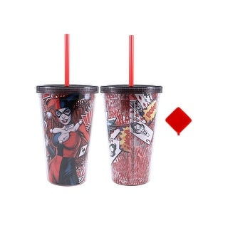 Harley Quinn 16 oz Plastic Cold Cup w Ice Cubes