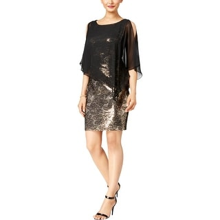 Connected Apparel Womens Capelet Dress Chiffon Sequined