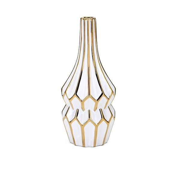 """12"""" Crisp White and Gold Contemporary Fluted Ceramic Vase - N/A"""