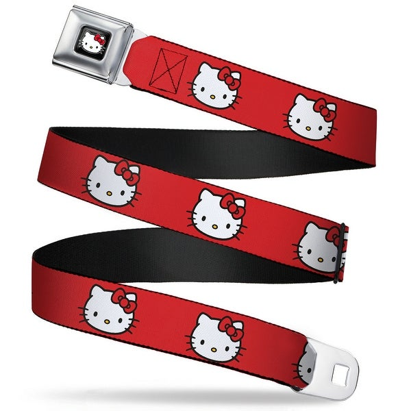 Hello Kitty W Red Bow Full Color Black Hello Kitty White Face Red Seatbelt Belt