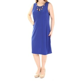 MSK $69 Womens New 2259 Blue Jewel Neck Sleeveless Shift Dress M B+B