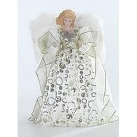 "Porcelain Angel with Ivory and Gold Gown Christmas Tree Topper 14"" - White"