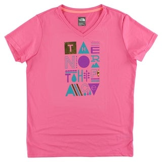 The North Face Girls Reaxion T Shirt Pink - pink/multi color - XL