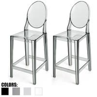 """2xhome Set of 2 Smoke 25"""" Counter Height Stool For Kitchen Home Bar Work Outdoor With Back Side"""