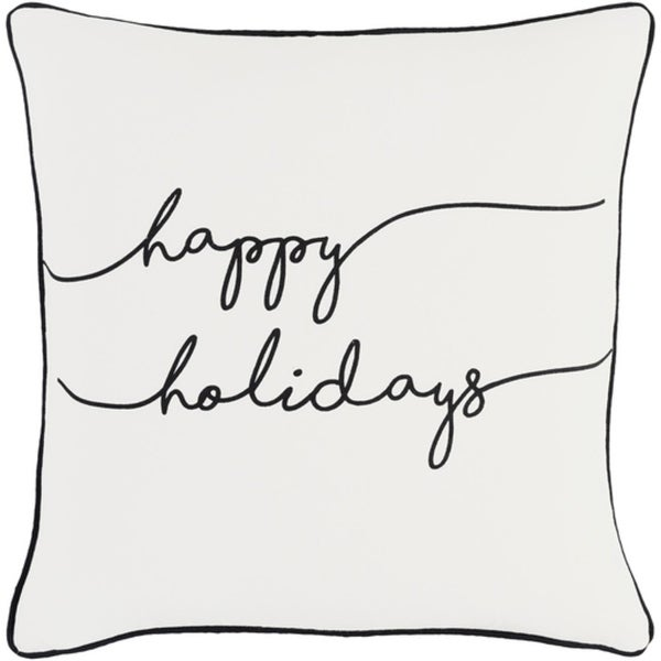 """18"""" Jet Black and Polar White """"happy holidays"""" Decorative Holiday Throw Pillow Cover"""