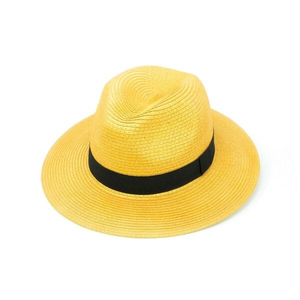 ChicHeadwear Womens 100% Paper Panama Hat w/ Metallic Band - One size