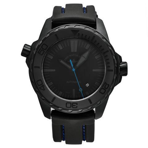 Zeno Men's 6603-BK-I14 'Divers' Black Dial Black/Blue Rubber Strap Automatic Watch