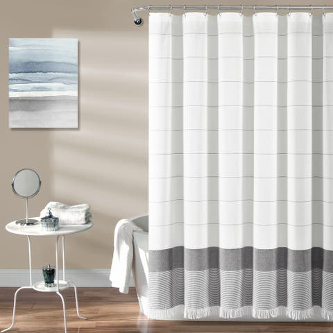 Lush Decor Stripe Yarn Dyed Tassel Fringe Woven Cotton Shower Curtain