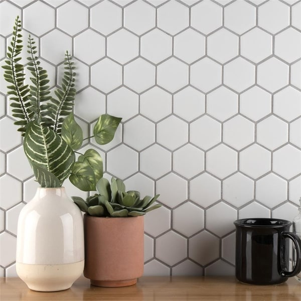 "SomerTile Metro Hex 2"" Matte White 11.13""x12.63"" Porcelain Mosaic Floor and Wall Tile (10 tiles/9.96 sqft.). Opens flyout."