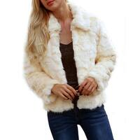 QZUnique Women Winter Warm Fluffy Faux Fur Coat Jacket Cardigan