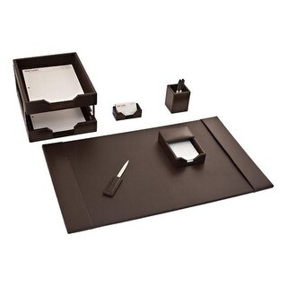 Dacasso D3603 Dark Brown Bonded Leather 8-Piece Desk Set