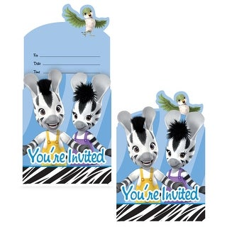 """Club Pack of 48 Zebra Zou Boy and Girl Pop-Up Bird Party Invitations 6"""""""