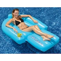 """58.5"""" Water Sports Belaire Inflatable Swimming Pool Lounger Float - Blue"""
