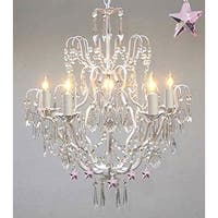 Wrought Iron & Crystal Chandelier Lighting Authentic Chandelier Lighting Pink *Stars*