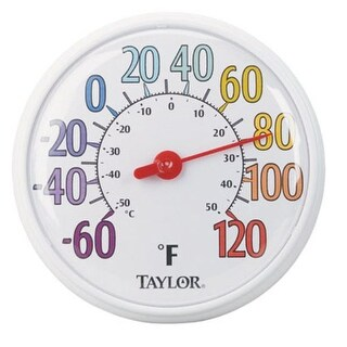 "Taylor 6714 Color Trak Thermometer 13.5"", White Bezel"