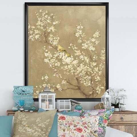 Designart 'White Cherry Blossom III' Farmhouse Premium Framed Art Print