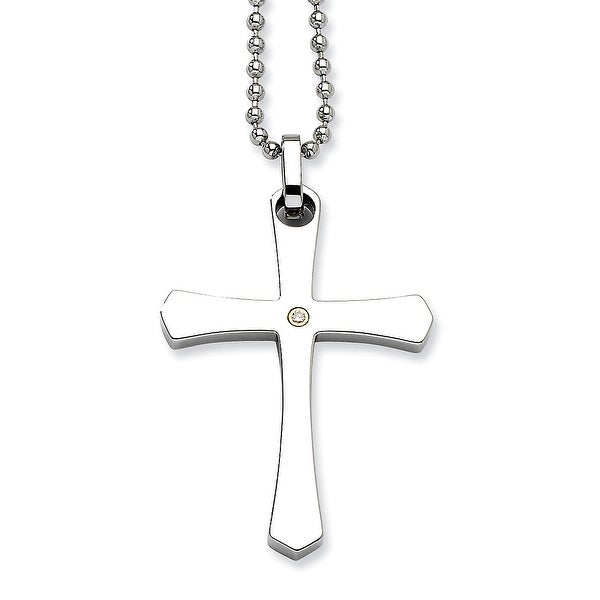 Chisel Stainless Steel 14k Gold with (0.02ct) Diamond Cross Pendant 22 Inch Necklace (1 mm) - 22 in