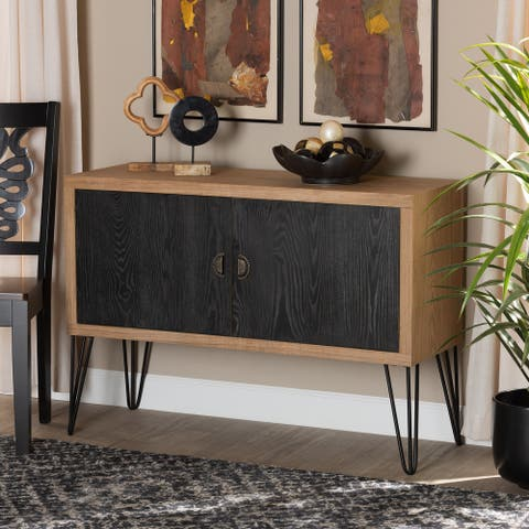 Denali Two-Tone Walnut Brown and Black Wood and Metal Storage Cabinet