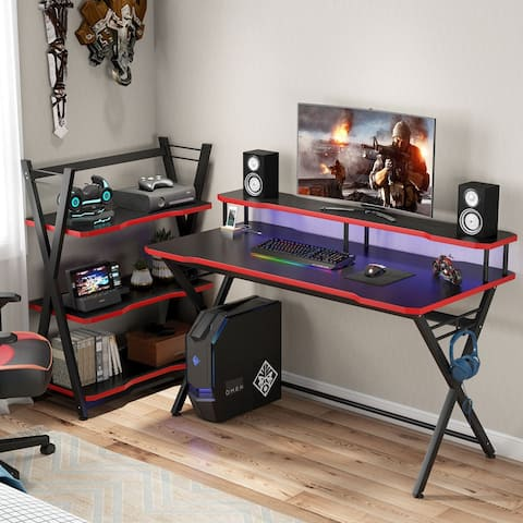 "55"" Gaming Desk with Monitor Stand & Headphone Hook - 55L x 23.6W x 29.5H"