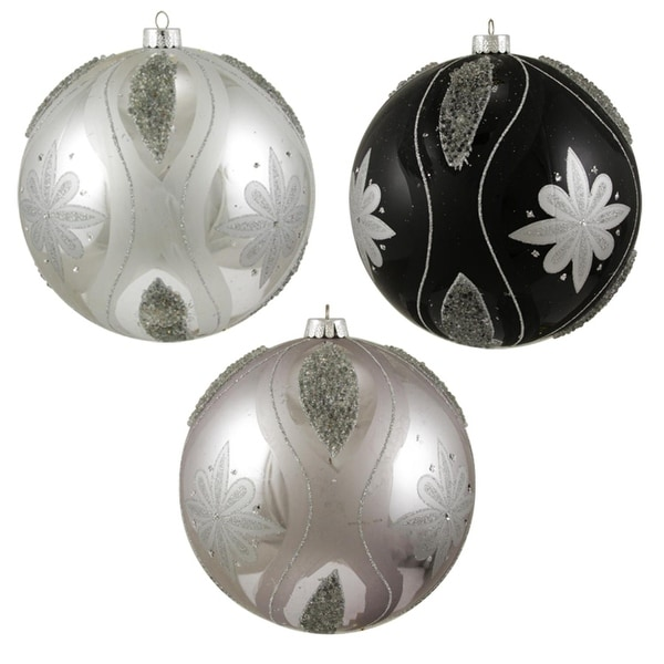 "3ct Black and Silver Floral Shatterproof Christmas Ball Ornaments 6"" (150mm)"
