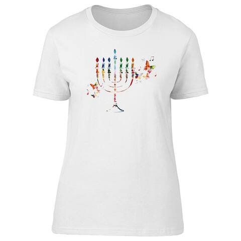Colorful Hanukkah Menorah Candle Tee Women's -Image by Shutterstock
