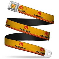 Mopar Logo Full Color Gold Red Black Mopar Logo Double Stripe Vintage Gold Seatbelt Belt