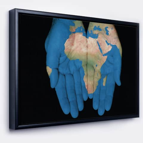 Designart 'African Map in Our Hands' Abstract Framed Canvas Artwork Print