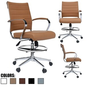 Link to Modern Designer Ergonomic Office Drafting Chair with Arms Ribbed Computer Tan Similar Items in Office & Conference Room Chairs