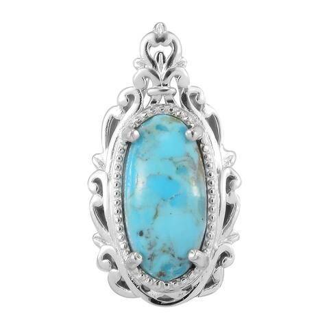 950 Platinum Constituted Turquoise Elegant Pendant Necklace Ct 3.4