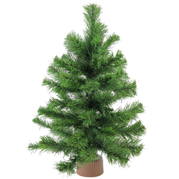"18"" Mini Pine Artificial Christmas Tree in Faux Wood Base - Unlit"