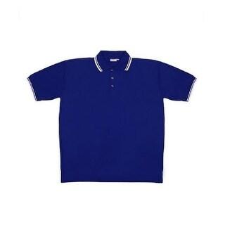 Men's Blue Knit Pullover Golf Polo Shirt - Medium