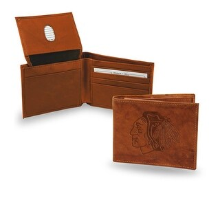 4 Brown NHL Chicago Blackhawks Embossed Billfold Wallet N A