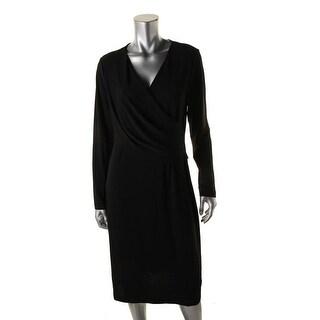 DKNY Womens Matte jersey Gathered Wear to Work Dress
